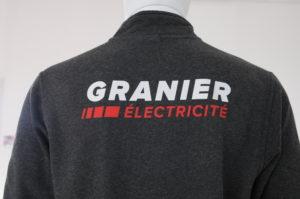 Veste sérigraphiée pour Granier Électricité en Savoie (73)