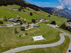 Tifo pour les Saisies (Savoie) sur le Tour de France 2020