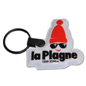 Porte-clé en PVC fin, avec LED intégré, découpé à la forme pour la station de ski de La Plagne
