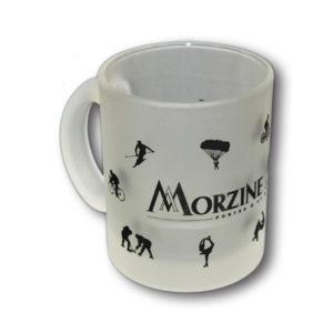 Tasse en verre poli avec marquage personnalisé (réalisé pour la station de Morzine