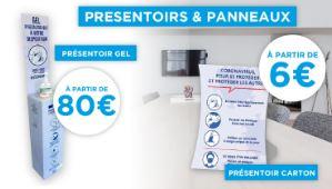 Totem support pour gel hydroalcoolique et présentoir carton